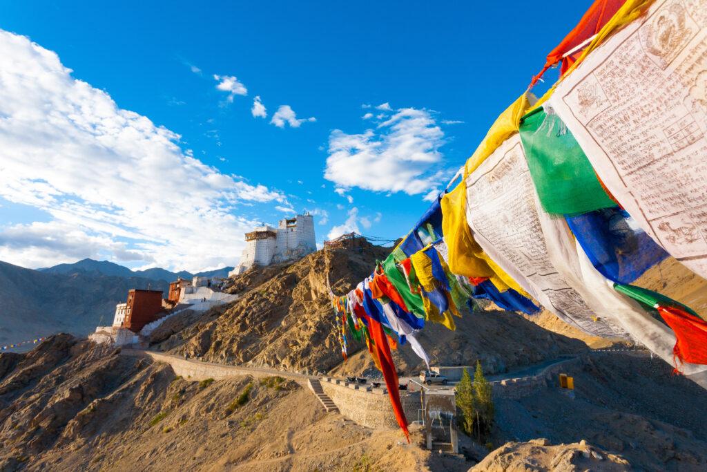 Leh Tsemo Fort Gompa Prayer Flags View Ladakh